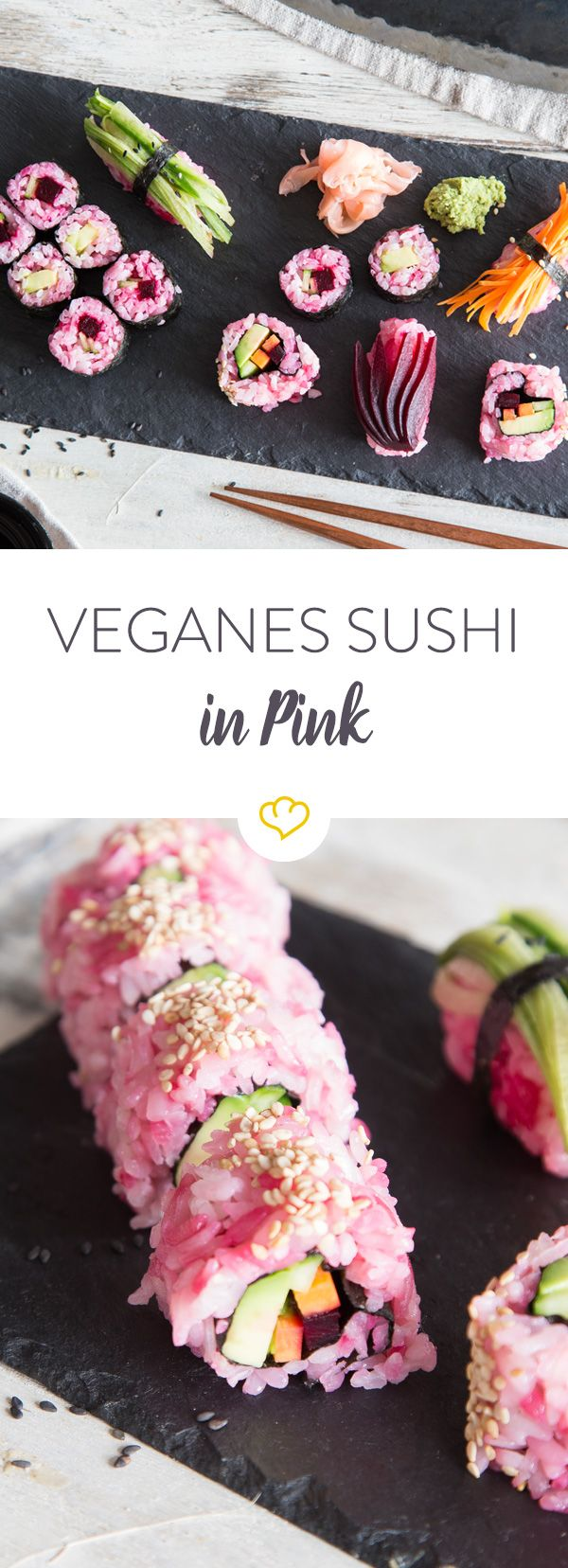 Veganes Sushi - in Pink Entdeckt von Vegalife Rocks: www.vegaliferocks.de✨ I Fleischlos glücklich, fit & Gesund✨ I Follow me for more vegan inspiration @vegaliferocks