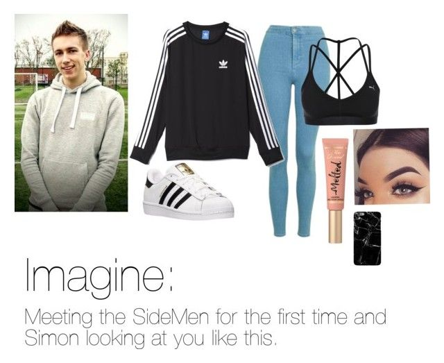 """""""First Sidemen Imagine"""" by skateisbae ❤ liked on Polyvore featuring Topshop, adidas, Puma, Too Faced Cosmetics and Harper & Blake"""