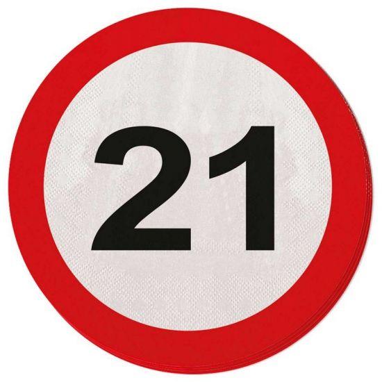 Servetten verkeersborden 21 jaar. Leeftijdsversiering servetten 21 jaar in de vorm van verkeersborden. Versier uw 21 jaar feest met 21 jaar verkeersborden servetjes. Deze 21 jaar verkeersbord servetten zijn ongeveer 33 x 33 cm en zitten verpakt per 20 stuks. Naast deze 21 jaar servetten hebben wij nog meer 21 jaar versieringen in ons assortiment.