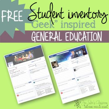 Fun Facebook inspired student inventories -by ⚛ Jen Siler's Classroom