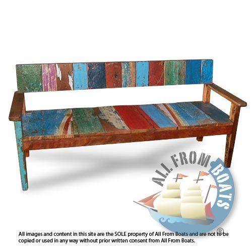 3 Seater Bench With Arm Made From Reclaimed Boat Timber