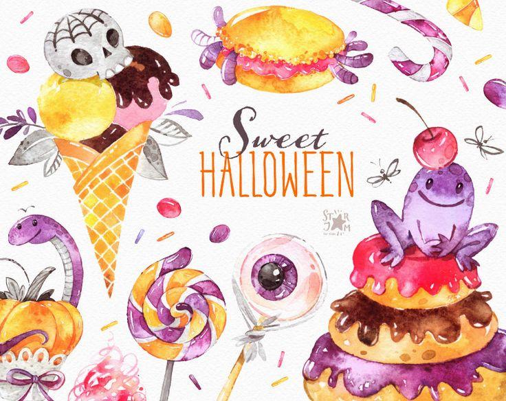 Dolce Halloween. Clipart dell'acquerello caramella