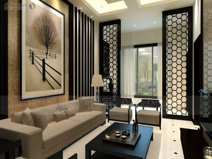 Brown Arts Patterned Black Area Rug Modern Asian Decor Brown Laminate Wooden Floor Glass Mirror Cabinet