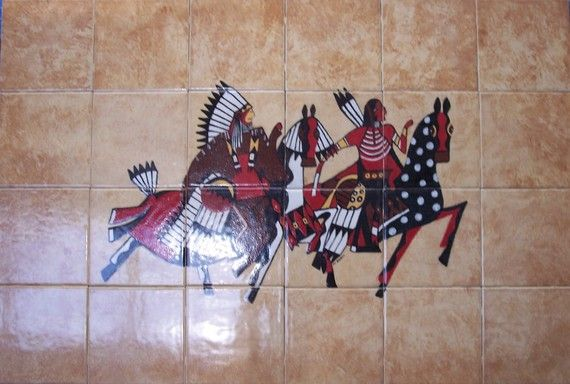 Native American Tile Mural by JCsCreativeArt on Etsy, $340.00