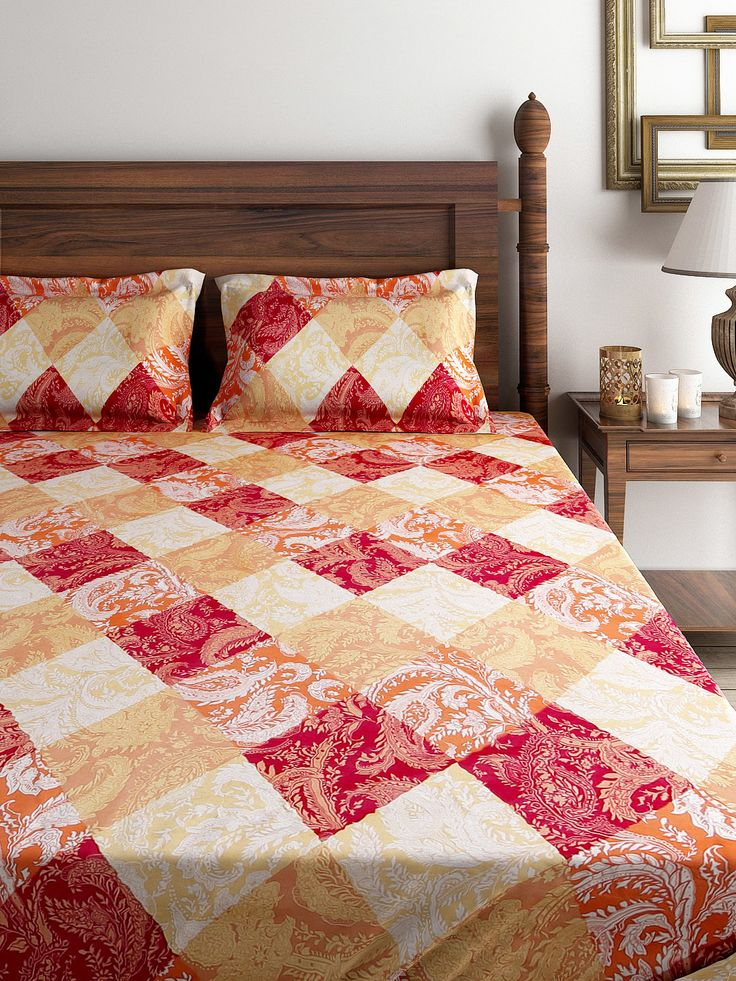 Buy SWAYAM Veda Multicoloured Cotton Double Bedsheet With 2 Pillow Covers - Bedsheets for Unisex | Myntra