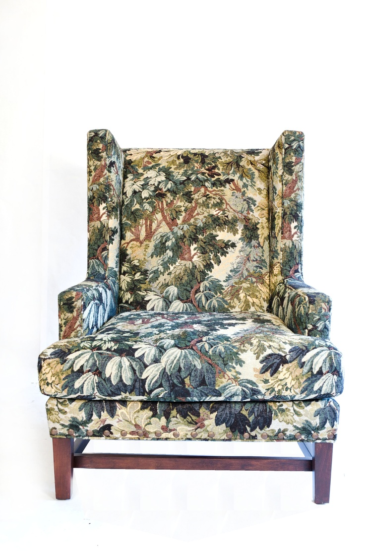 Upholstered Wing Chair With Tapestry Fabric, $1475 | | PIECES WE LOVE | |  Pinterest | Wing Chairs, Tapestry Fabric And Tapestries
