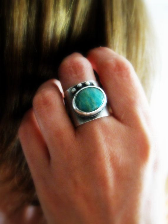 Russian Amazonite Sterling Silver Ring Statement by Senobar....