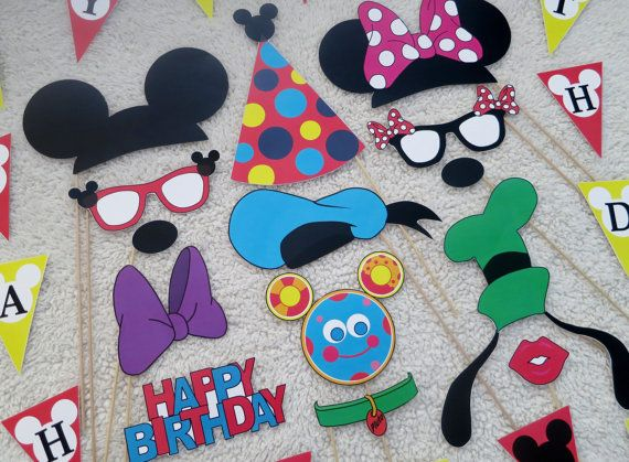 PDF - Mickey Mouse Birthday Party Photo Booth Props - printable / DIY