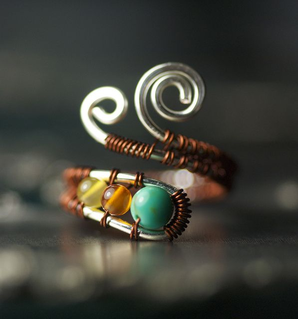 Turquoise and Natural Agate Bronze Silver Copper Toe Ring by Moss & MIst Jewelry by Moss & Mist Jewelry, via Flickr