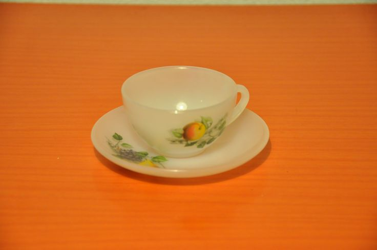 Arcopal cup and saucer small (espresso size).Fruits de France pattern.