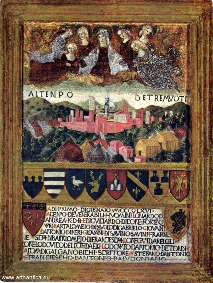 La Madonna protegge Siena dai terremoti. Del 1467, gennaio/dicembre.  Autore: Francesco di Giorgio Martini  Tempera su Tavola