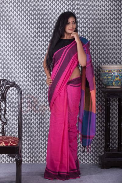 Pink Khadi Handloom Saree With Purple Border-KCH08730114
