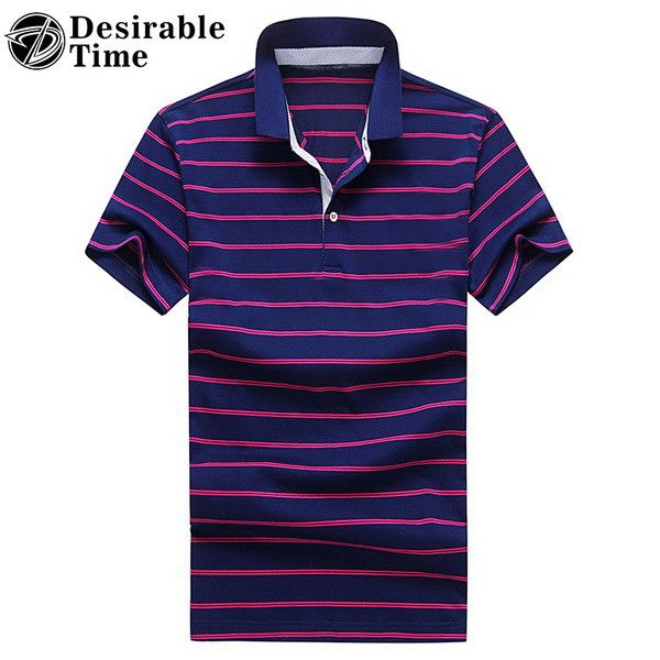 Men Short Sleeve Polo Shirts New Arrival Contrast Color Summer Style Red Striped Polo Shirts for Men