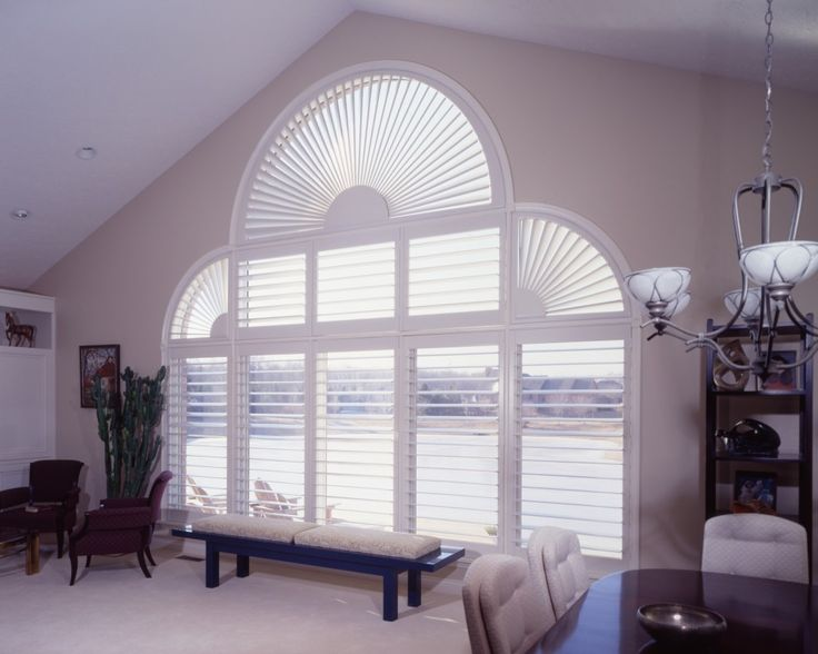 White 3 1/2 Louvers Composite plantation Shutters Arch And ...