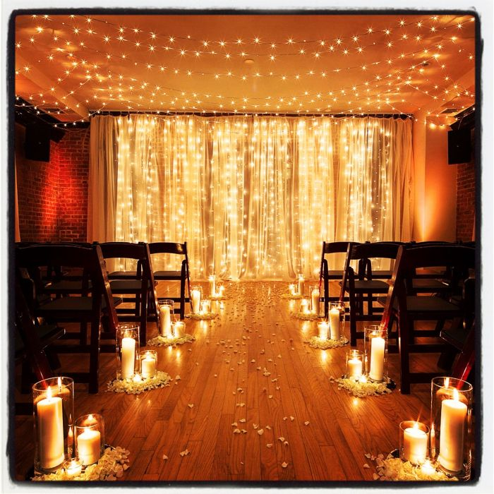 Brooklyn Wedding Planner: Light Curtain Ceremony Backdrop at Deity Brooklyn Wedding Venue #brooklynwedding #weddingvenue #weddingdecorations   this is absolutely lovely!!!!