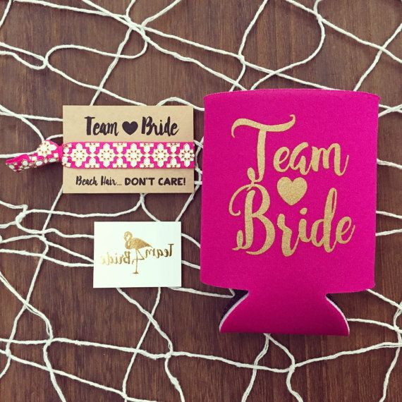 Team Bride Bachelorette Gift Set Metallic Gold Tattoo Hair Tie Drink Cooler Party Swag Bag Favor Temporary Tattoos