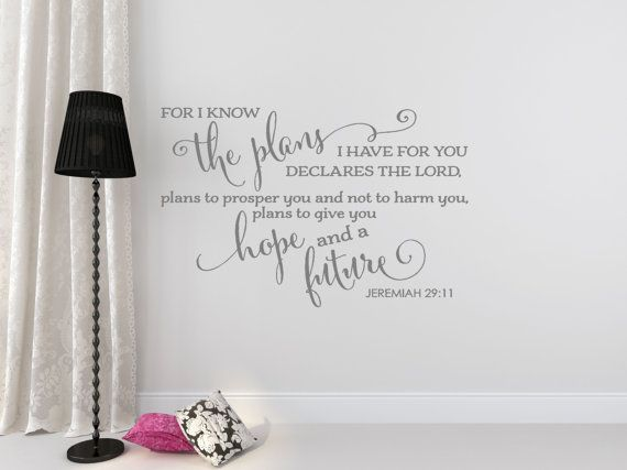 Bible Verse Wall Decal - Christian Wall Decal - Family Wall Decal - Jeremiah 29:11 - Wall Decal - Bible Verse - Christian Wall Decor