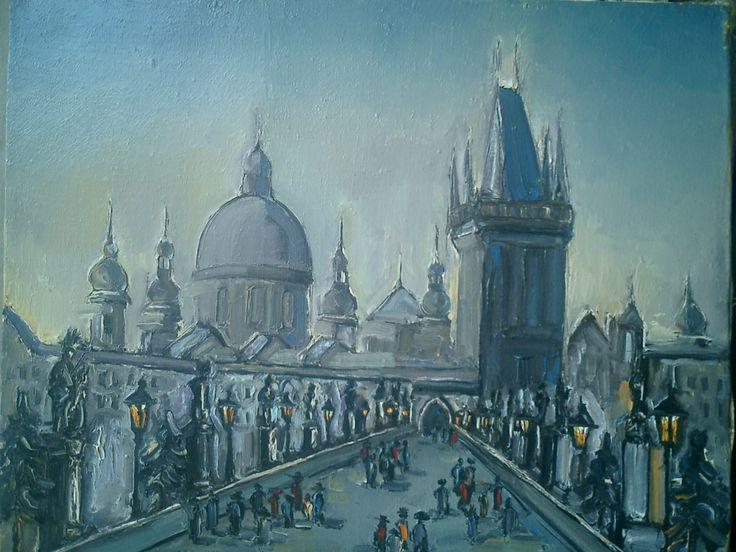 Pictor Ioan Cristea - Podul Carol  din Praga u/p 60/50 cm