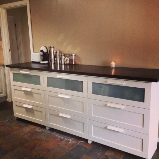 Maybe use low-profile, long dresser for kitchen buffet.