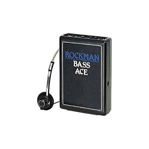 """Rockman Bass Ace Headphone Amplifier. Lets you hear your instrument's dynamic range and clarity to inspire you to """"pick up your guitar and play"""". These high-quality, low-priced headphone amps offer built in compression, volume control and auxiliary stereo input/output. You can even route the output to a mixer for recording!. The Bass Ace offers selectable treble boost and mid boost to add to your sound. Includes headphones (adapter sold separately)."""