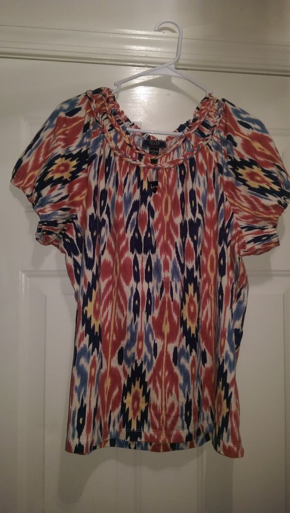 Chaps Demin NWT Woman's Plus Red/Yellow/Blue/White Lined Design Shirt Size 2X #Chaps #KnitTop #Casual