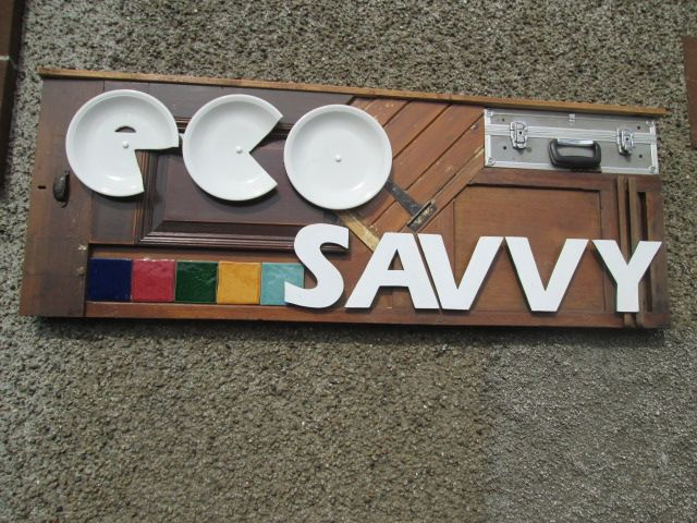 This is our stunning shop sign made using recycled items.  We are so proud of this!