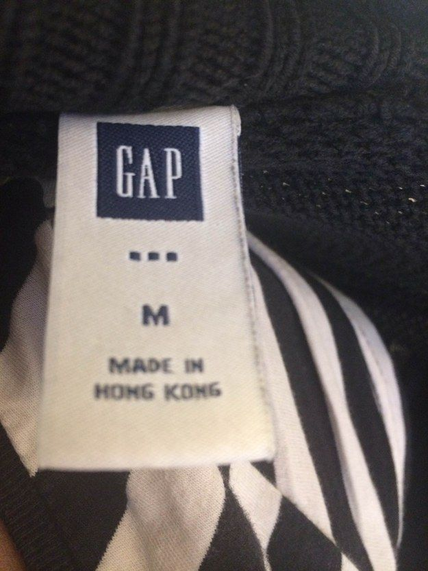 "HOW TO SPOT ""MADE FOR FACTORY OUTLET"" CLOTHES.  Example of Gap Outlet label: 