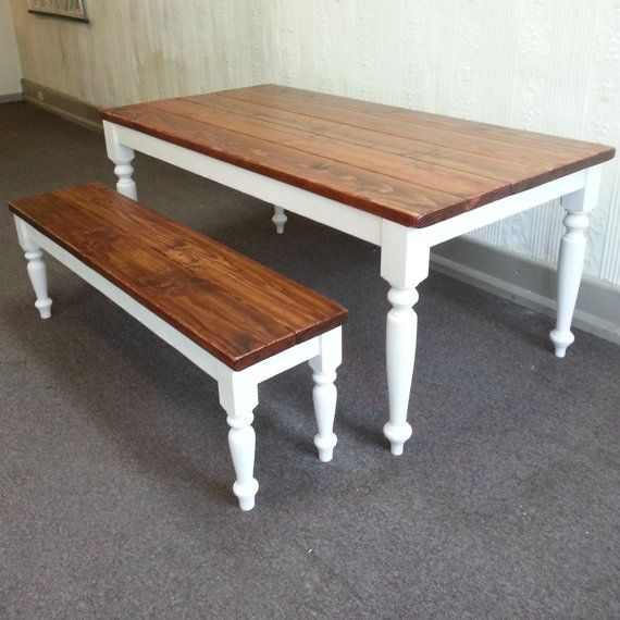 Farm Table and Bench Set by CustomTimberHF on Etsy