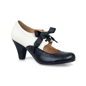 Buy New 1930s Style Shoes for Women - Black & White Closed Toe Sylvia Mary Jane Pumps $64.00  #1930sfashion #shoes