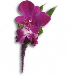 #FDH_Perfect_Purple_Orchid_Boutonniere  An exotic pick with confidence and style and Purple dendrobium orchids, Italian ruscus and a galax leaf bundled in a purple satin ribbon.   For Other Details Visit - http://flowersdeliveryhouston.com/houston-florist/occasions/prom-flowers/fdh-perfect-purple-orchid-boutonniere