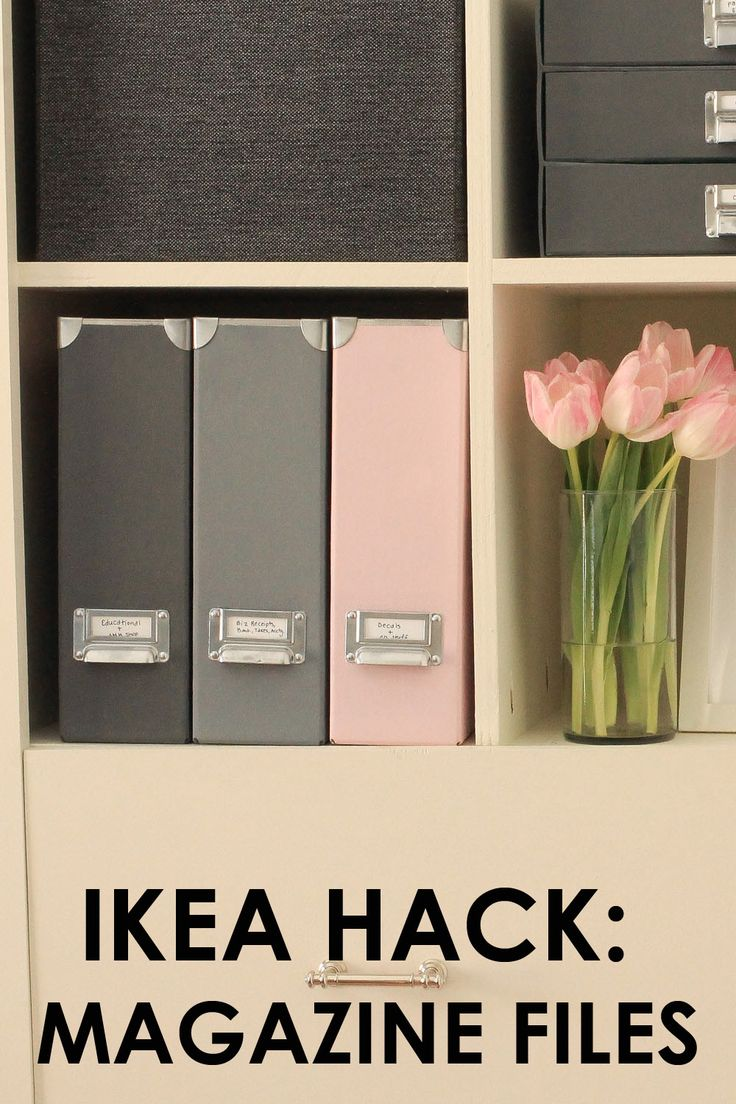 IKEA Hack: Magazine Files Pretty office decor, pretty office storage, beautiful office, home organization