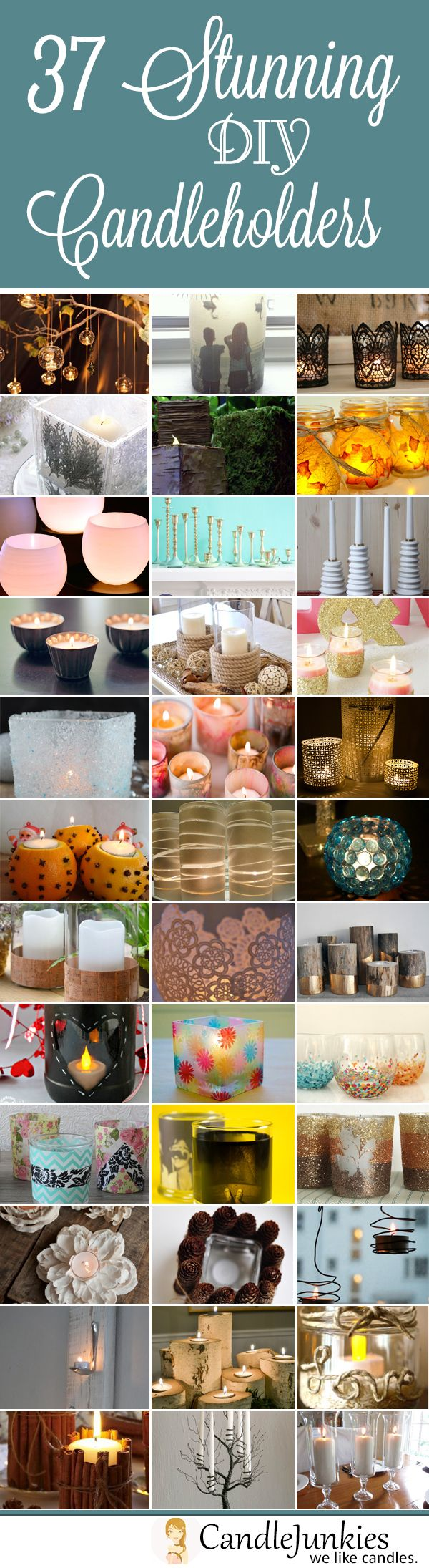 A list of 37 absolutely stunning DIY candle holders and votive's.