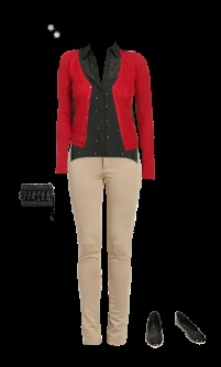 WetSeal: rhinestone chiffon shirt, black, red pointelle cardigan, tan khaki pants