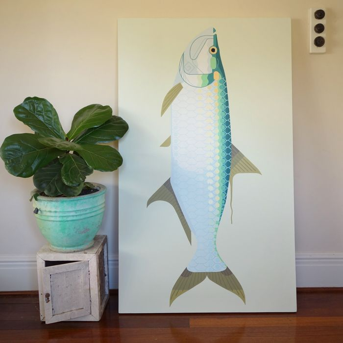 """Megalops Atlanticus"" (Tarpon). This fish grows up to 2.4 meters, but this one is a bit smaller; 1.5 meters long.  151cm x 91cm - Acrylics on canvas, 2014 #art #canvas #tarpon #fish #amokisland"