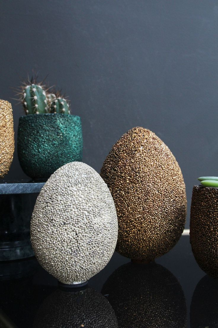 Sparkling Beaded Silver Egg - View All - Home Accessories