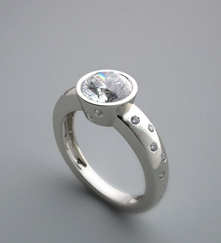 ENCHANTING DIAMOND ACCENT BEZEL SET ENGAGEMENT RING SETTING