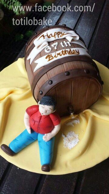 Happy 67th birthday beer barrel cake. #birthday #cake #totilobake #birthdaycake #beer #barrel #beerbarrel #createdbyfangkim