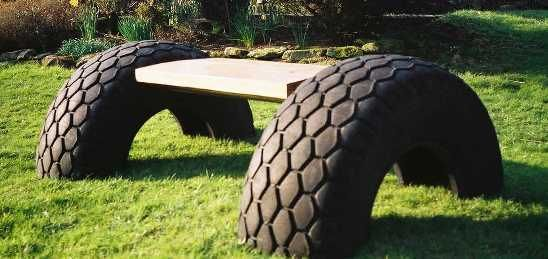 recycle tyres into a bench seat