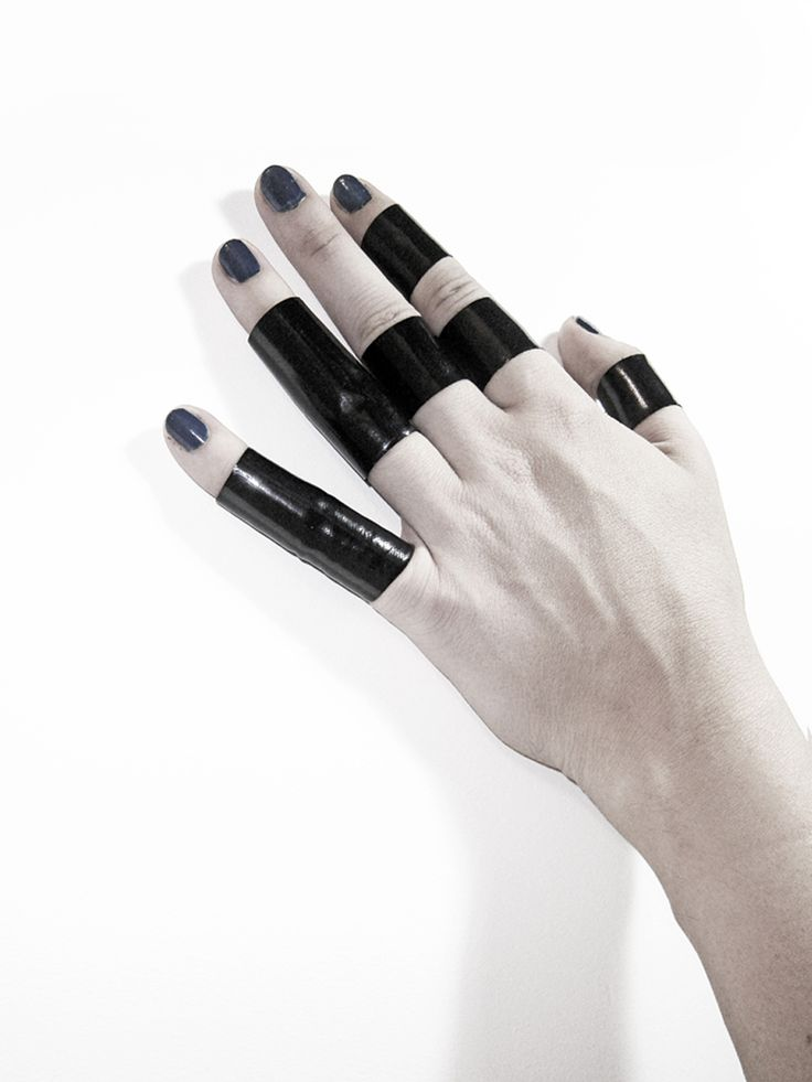 Black PVC rings - I used to do this with black pvc pipe tape. Love.