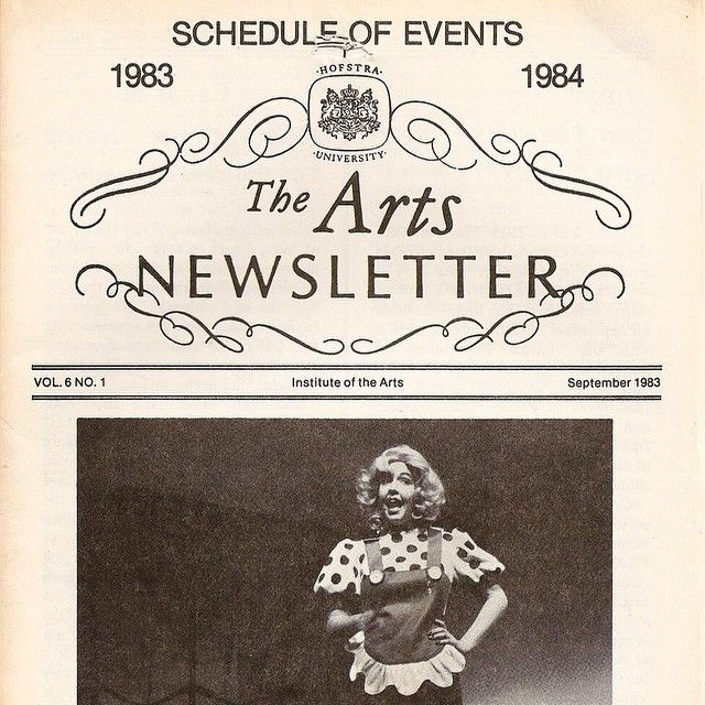"""""""#tbt courtesy of Monica Horan Rosenthal '84, known for her work on Everybody Loves Raymond! She graced the cover of the 1983-84 #Hofstra Arts Newsletter."""""""