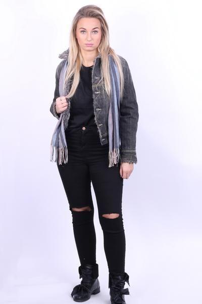 Lee Womens M Furry Jeans Jacket Fur Inside Dark Grey Cotton - RetrospectClothes