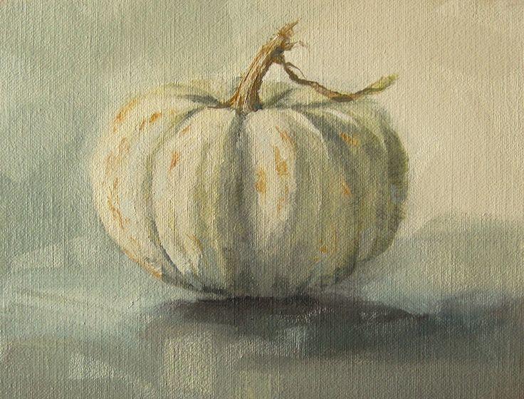 small white pumpkin oil painting autumn pinterest