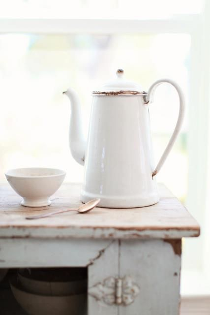 Antique White French Cafe au Lait Bowl and Coffee Pot