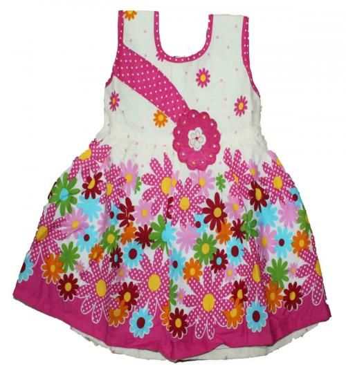 Pink and white cotton frock  Size : 1-4 years Price : Rs 410 Free shipping all over India whatsapp : +91-9629187349
