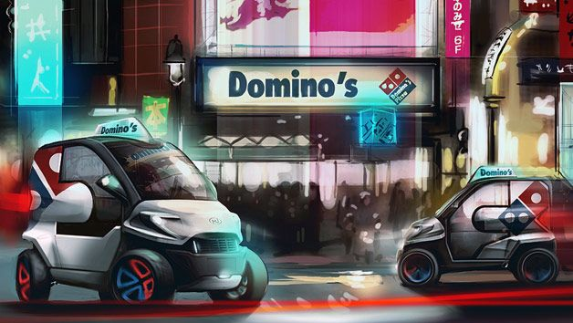 "Pizzafirma Dominos joukkoisti pizzakuljetusauton suunnittelun Local Motors - yhteisön kanssa. ""winner is the Domino's Pack, a design from Anej Kostrevc of Slovenia."""