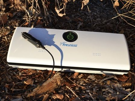 Freshield Outdoor vacuum sealer.  Exclusive 12v DC and 110-240v AC  Included:  240v home use power cable & 12v car use cigarette adapter power cable.