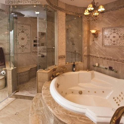 50 Amazing Bathroom Bathtub Ideas - Don't like the overly ornate decor, but love the jetted tub and huge walk-in shower!