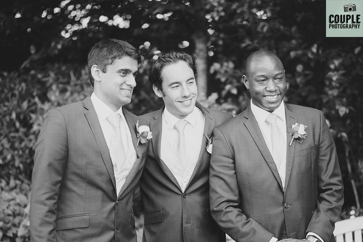Very natural black & white photo of the groomsmen. Weddings at The Keadeen Hotel Photographed by Couple Photography.