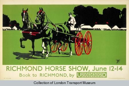 Poster 1983/4/8359 - Poster and Artwork collection online from the London Transport Museum Richmond Horse Show, by unknown artist, 1924  Published by Underground Electric Railway Company Ltd,