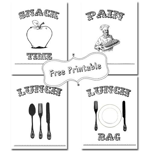 Lunch bag printables. With instructions how to print onto bag (which way round the bag goes).